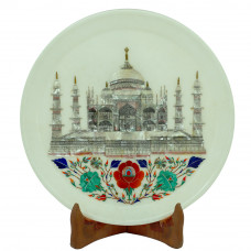 Round Wall Plate Glorious Design of Seven Wonder Work With Semiprecious Stones