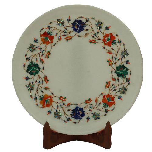 Pietra Dura White Marble Wall Plate Handmade Item