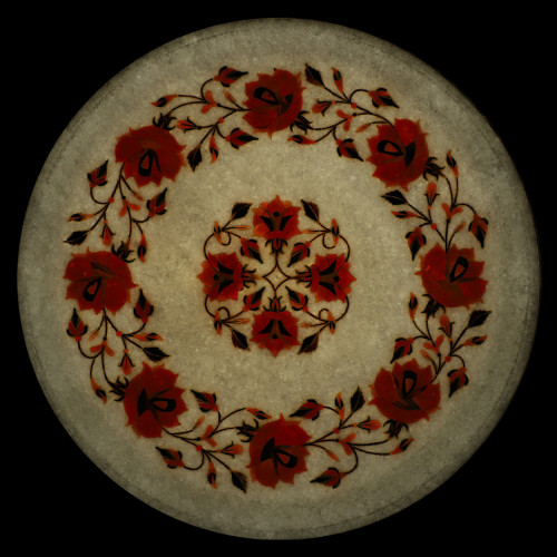 Antique White Marble Wall Plate Magnificent Hand Crafted Work of Stones