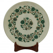 Round Marble Wall Plate Inlay Malachite Stone for Floral Design
